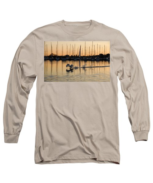 The Golden Takeoff - Swan Sunset And Yachts At A Marina In Toronto Canada Long Sleeve T-Shirt