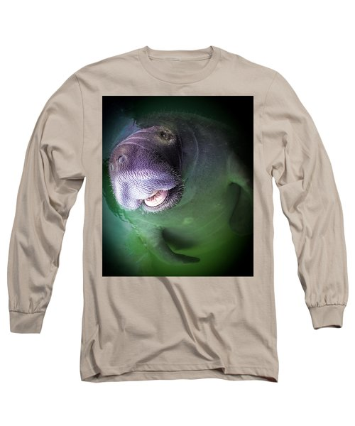 The Happy Manatee Long Sleeve T-Shirt by Karen Wiles