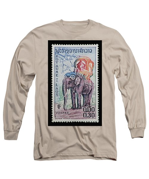 Long Sleeve T-Shirt featuring the photograph The King's Elephant Vintage Postage Stamp Print by Andy Prendy
