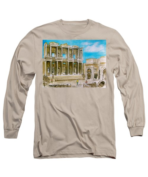 The Library At Ephesus Turkey Long Sleeve T-Shirt