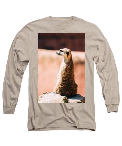 The Lonely Meerkat Long Sleeve T-Shirt by Pati Photography