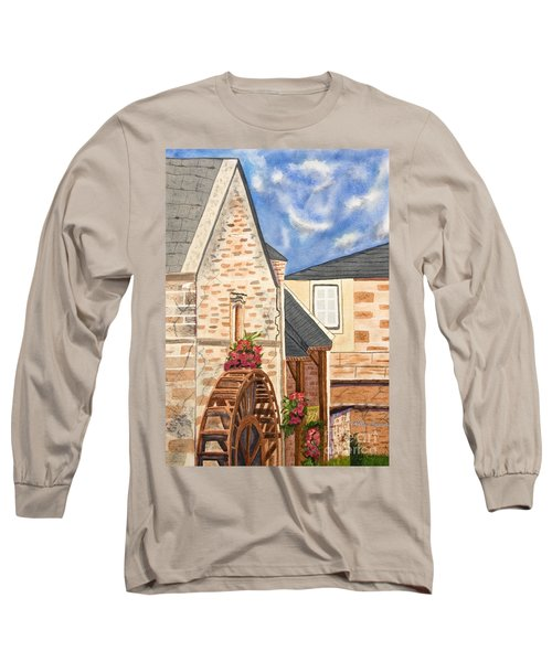 The Old French Mill Watercolor Art Prints Long Sleeve T-Shirt by Valerie Garner