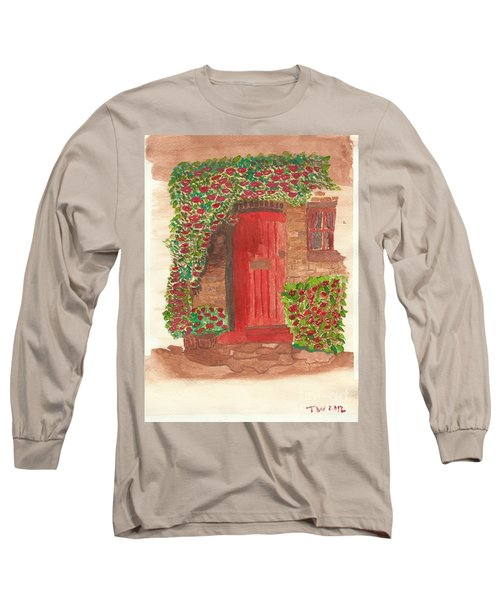 Long Sleeve T-Shirt featuring the painting The Orange Door by Tracey Williams