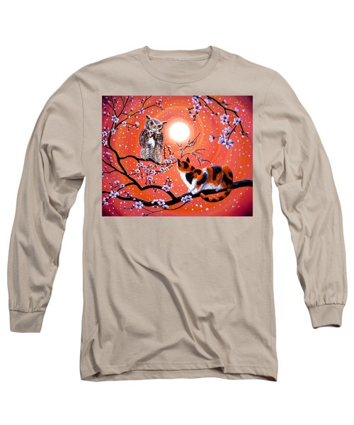 The Owl And The Pussycat In Peach Blossoms Long Sleeve T-Shirt by Laura Iverson