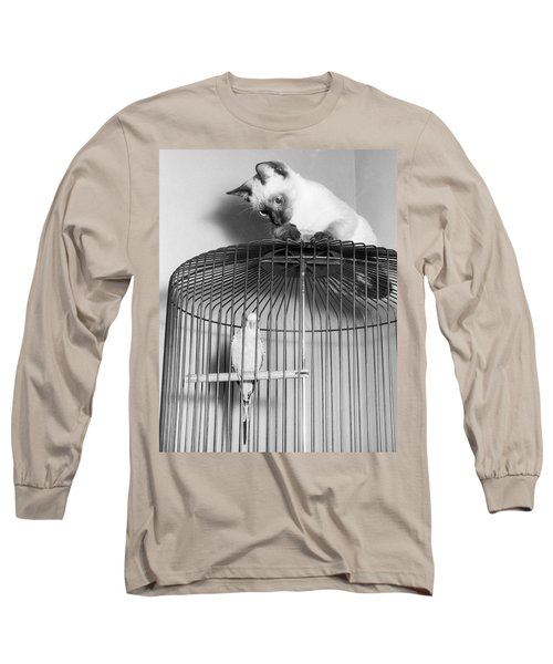 The Parakeet And The Cat Long Sleeve T-Shirt by Underwood Archives