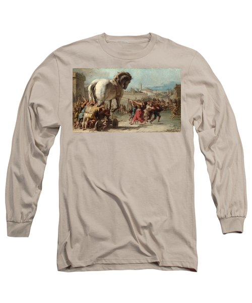 The Procession Of The Trojan Horse Into Troy Long Sleeve T-Shirt