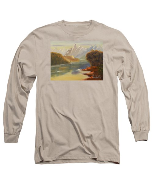 The River Flowing From A High Mountain Long Sleeve T-Shirt