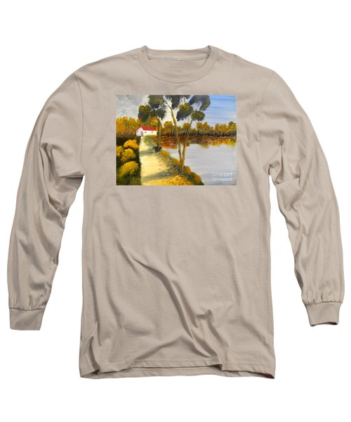 Long Sleeve T-Shirt featuring the painting The Riverhouse by Pamela  Meredith