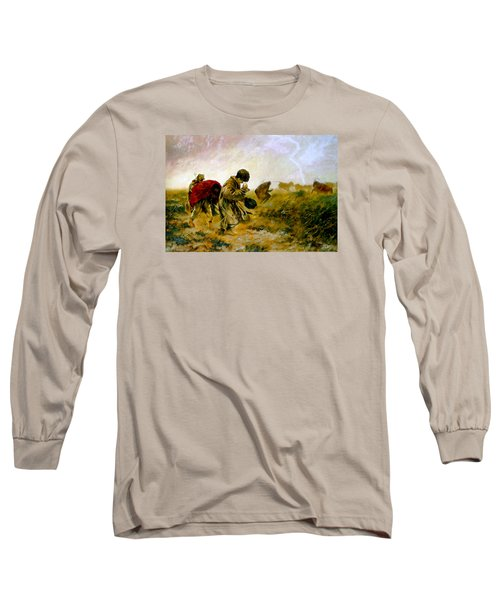 Long Sleeve T-Shirt featuring the painting The Storm by Henryk Gorecki