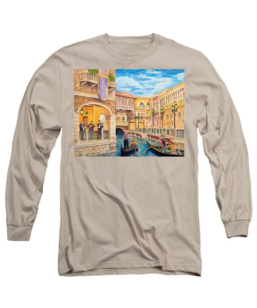 The Venetian Canal  Long Sleeve T-Shirt by Vicki  Housel