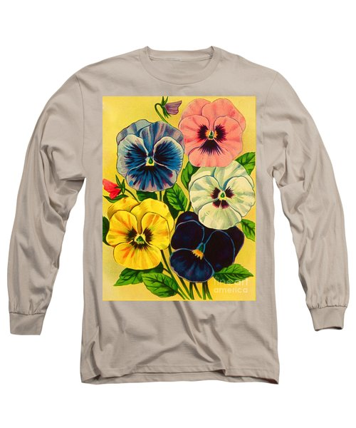 Pansy Flowers Antique Packaging Label  Long Sleeve T-Shirt