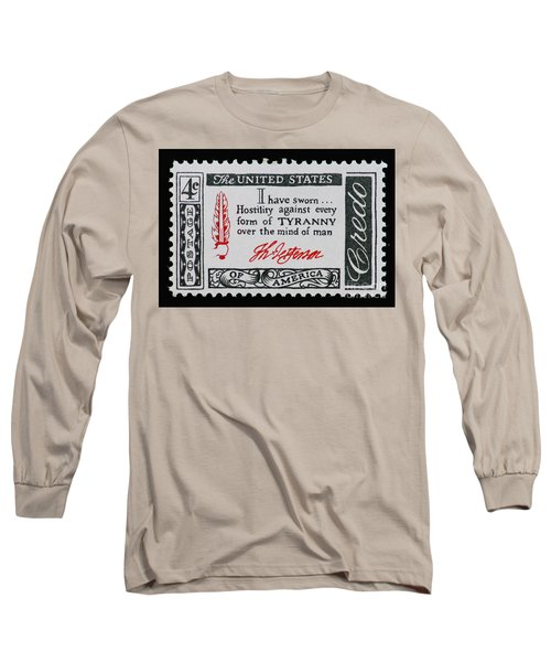 Thomas Jefferson American Credo Vintage Postage Stamp Print Long Sleeve T-Shirt