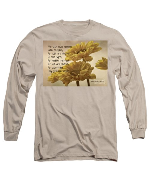 Thoughts Of Gratitude Long Sleeve T-Shirt by Peggy Hughes