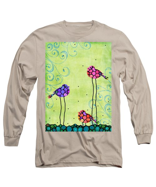 Three Birds - Spring Art By Sharon Cummings Long Sleeve T-Shirt by Sharon Cummings