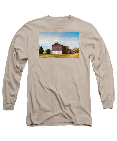 Long Sleeve T-Shirt featuring the photograph Three In One Barns by Debbie Green
