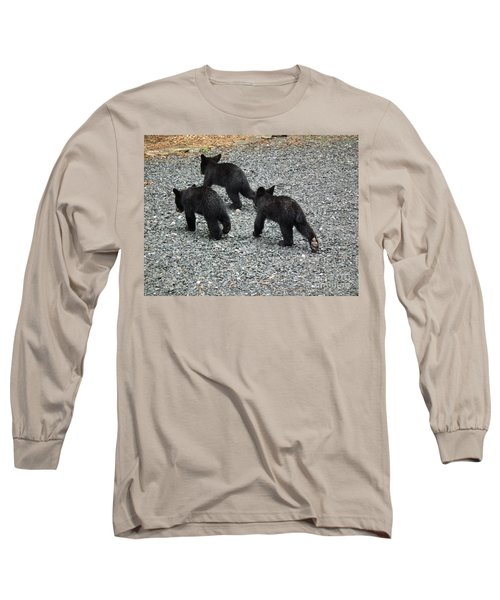 Long Sleeve T-Shirt featuring the photograph Three Little Bears In Step by Jan Dappen