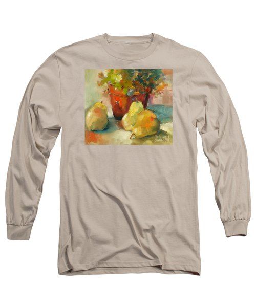 Long Sleeve T-Shirt featuring the painting Three Pears And A Pot by Michelle Abrams