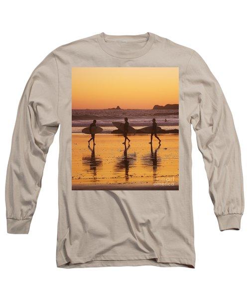 Three Surfers At Sunset Long Sleeve T-Shirt by Blair Stuart