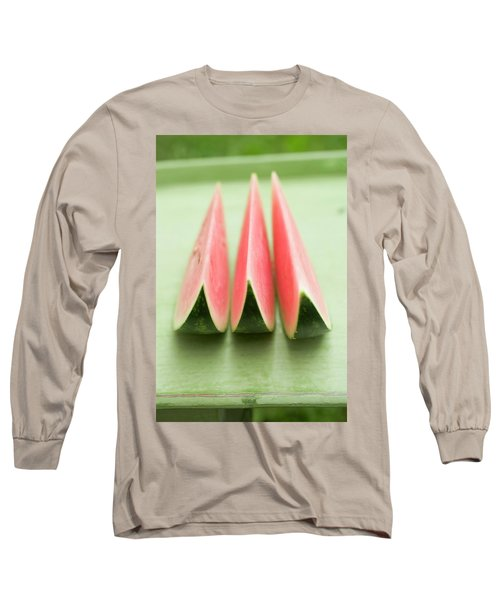 Three Wedges Of Watermelon On Green Table Long Sleeve T-Shirt