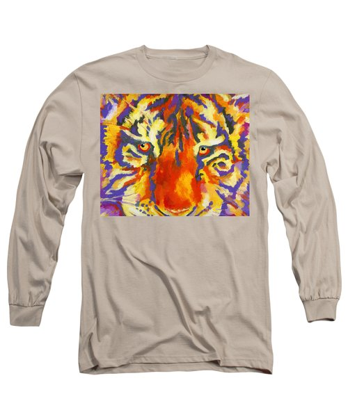 Long Sleeve T-Shirt featuring the painting Tiger Eyes by Stephen Anderson