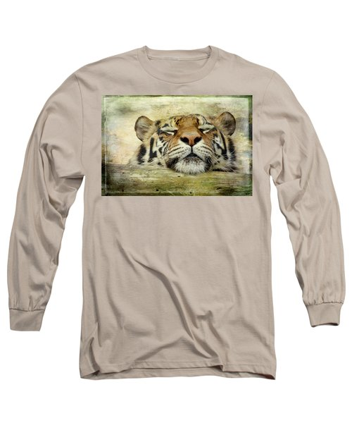 Tiger Snooze Long Sleeve T-Shirt by Athena Mckinzie