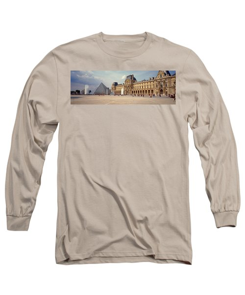 Tourists Near A Pyramid, Louvre Long Sleeve T-Shirt by Panoramic Images