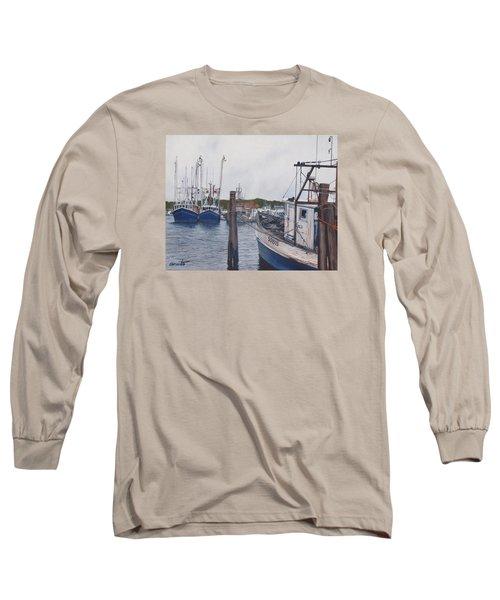 Trawlers At Gosman's Dock Montauk Long Sleeve T-Shirt by Barbara Barber