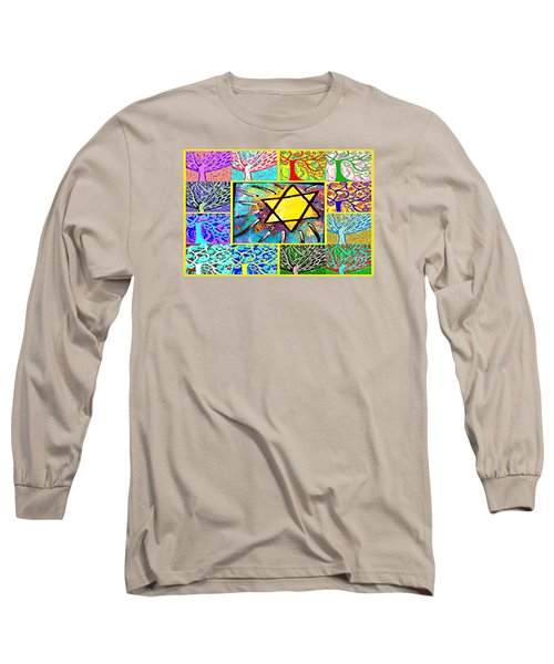 -tree Of Life Star Long Sleeve T-Shirt by Sandra Silberzweig