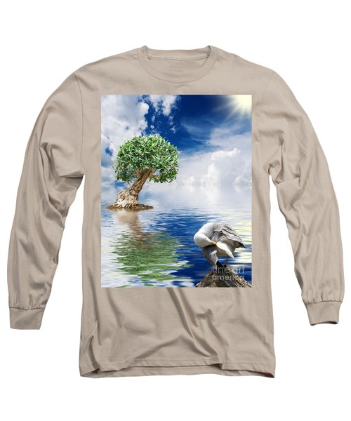 Tree Seagull And Sea Long Sleeve T-Shirt
