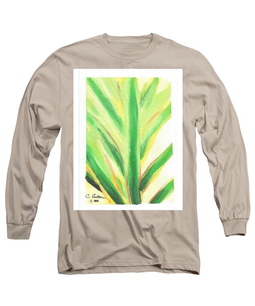 Long Sleeve T-Shirt featuring the painting Tropical Leaf by C Sitton