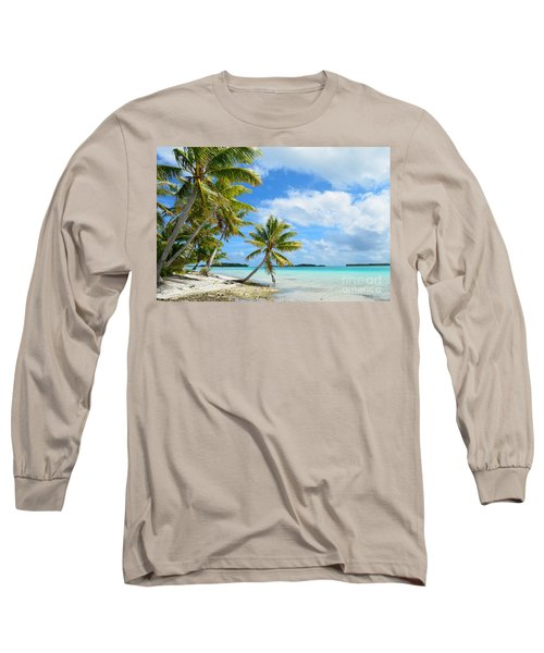 Tropical Beach With Hanging Palm Trees In The Pacific Long Sleeve T-Shirt by IPics Photography