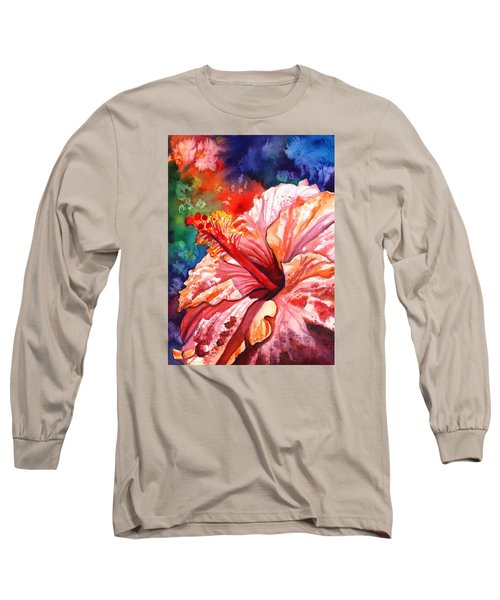 Tropical Pink Hibiscus Long Sleeve T-Shirt