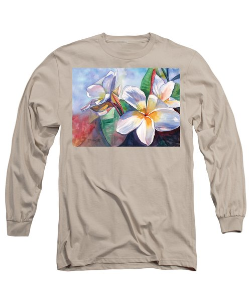Tropical Plumeria Flowers Long Sleeve T-Shirt