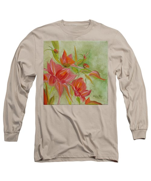 Long Sleeve T-Shirt featuring the painting Tropical Splash by Judith Rhue