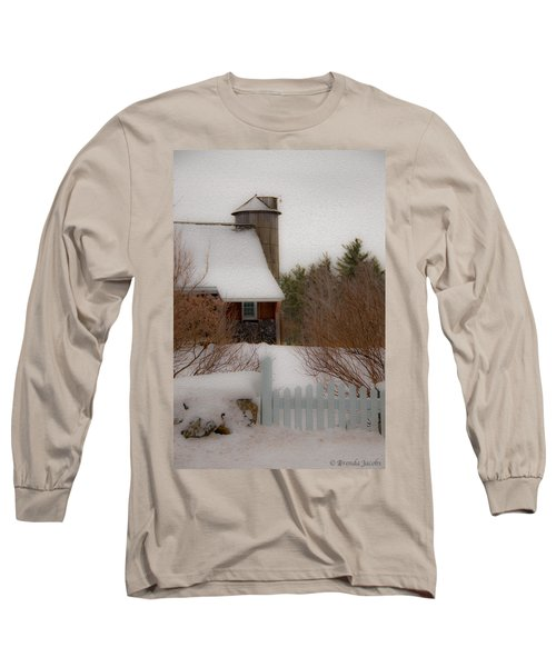 Long Sleeve T-Shirt featuring the photograph Tuftonboro Farm In Snow by Brenda Jacobs