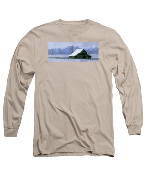 Long Sleeve T-Shirt featuring the painting Turner Barn In Brentwood by Janet King