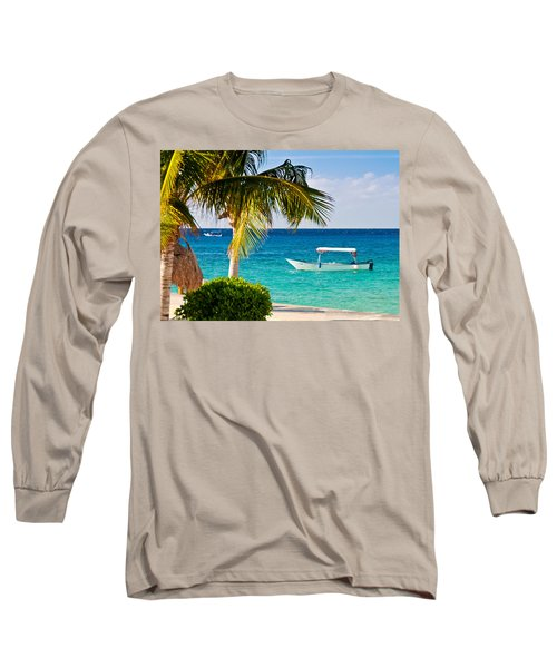 Turquoise Waters In Cozumel Long Sleeve T-Shirt by Mitchell R Grosky