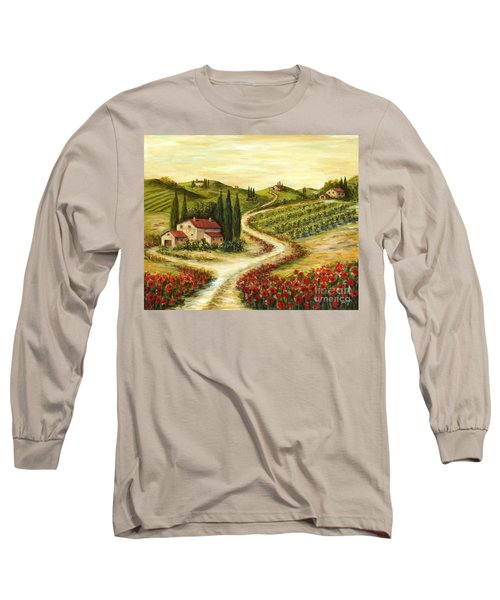 Tuscan Road With Poppies Long Sleeve T-Shirt