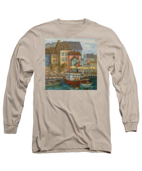 Tuscan Village Boat Paintings Long Sleeve T-Shirt