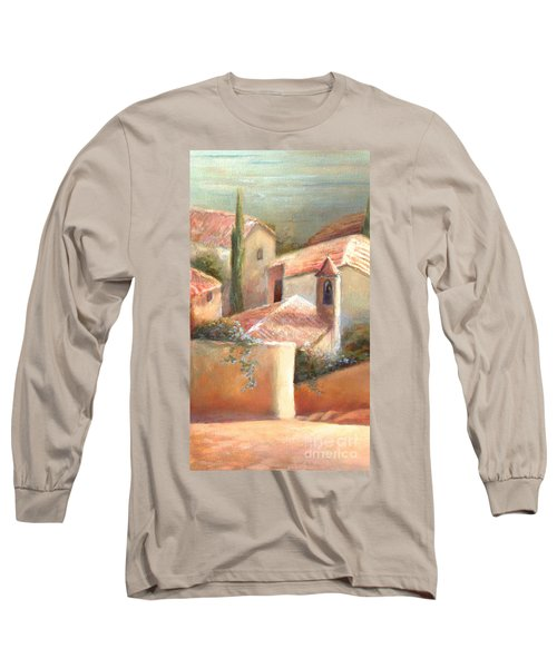 Long Sleeve T-Shirt featuring the painting Tuscan Village by Michael Rock