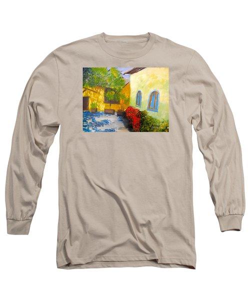 Tuscany Courtyard 2 Long Sleeve T-Shirt by Pamela  Meredith