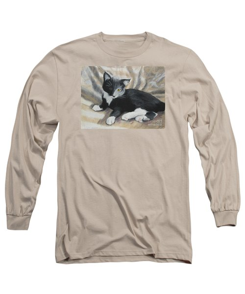 Long Sleeve T-Shirt featuring the painting Tuxedo Kitten by Jeanne Fischer