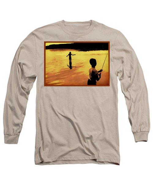Long Sleeve T-Shirt featuring the photograph Twilight Fishing by John Hansen