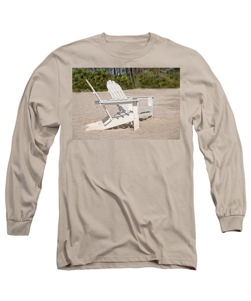 Long Sleeve T-Shirt featuring the photograph Two Beach Chairs by Charles Beeler
