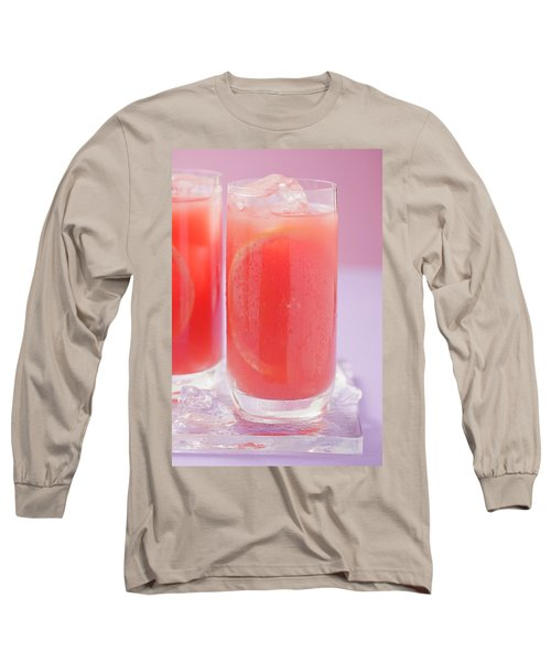 Two Glasses Of Pink Grapefruit Juice With Ice Cubes Long Sleeve T-Shirt