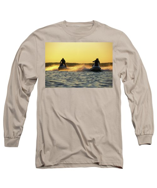 Two Jet Skis In Open Water At Sunset Long Sleeve T-Shirt