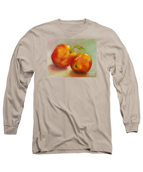 Long Sleeve T-Shirt featuring the painting Two Peaches by Michelle Abrams