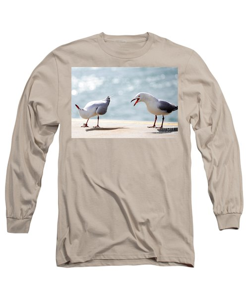 Long Sleeve T-Shirt featuring the photograph Two Seagulls by Yew Kwang