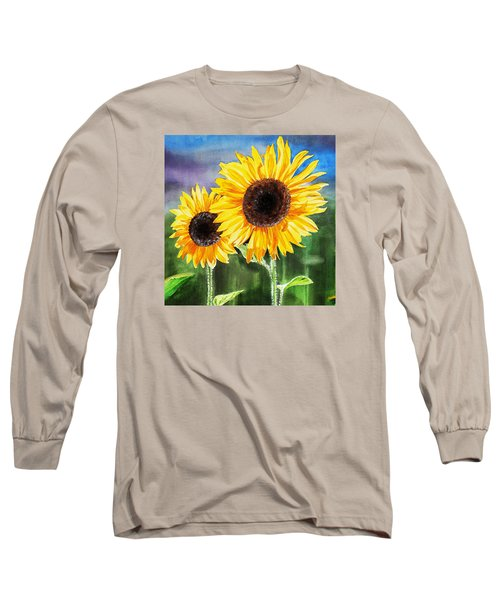 Long Sleeve T-Shirt featuring the painting Two Sunflowers by Irina Sztukowski