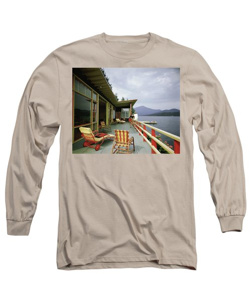 Two Women On The Deck Of A House On A Lake Long Sleeve T-Shirt